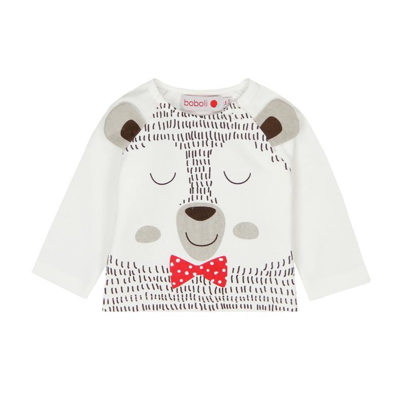 Βαμβακερή μπλούζα με μακριά μανίκια και χαρούμενη εκτύπωση για ένα μωρό - unisex  102
