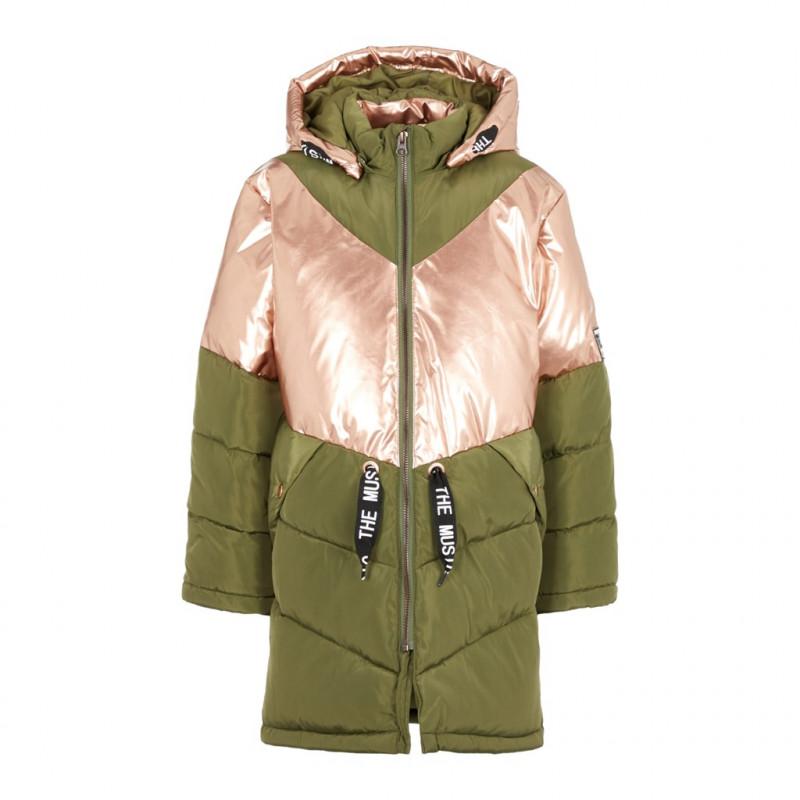 Μακρύ φουσκωτό μπουφάν με ροζ σχέδιο, για κορίτσι  102469