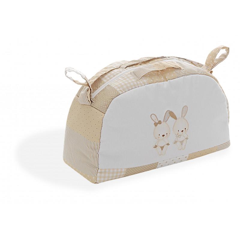 Τσάντα μπεζ με λαγουδάκια για τα πράγματα του μωρού  102725