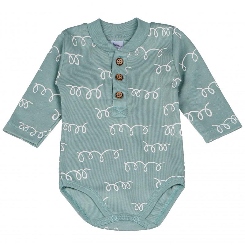 Βαμβακερό κορμάκι με μακριά μανίκια και φίνο τύπωμα για μωρό  102857