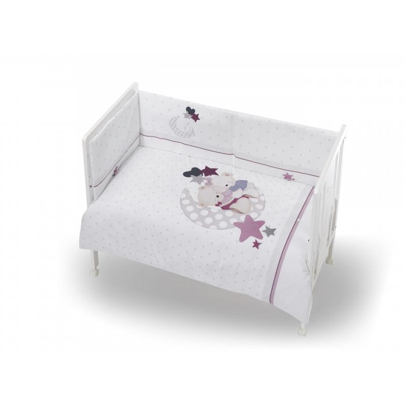 Interbaby σετ ύπνου 3 τεμαχίων σε ροζ χρώμα σχεδιασμένο για κορίτσι  102947