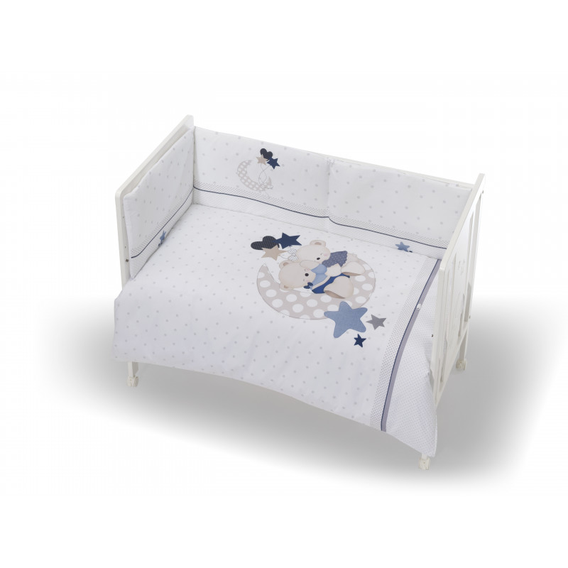 Σετ ύπνου 3 τεμαχίων λευκού χρώματος με κεντημένα αρκουδάκια για αγόρι  102948