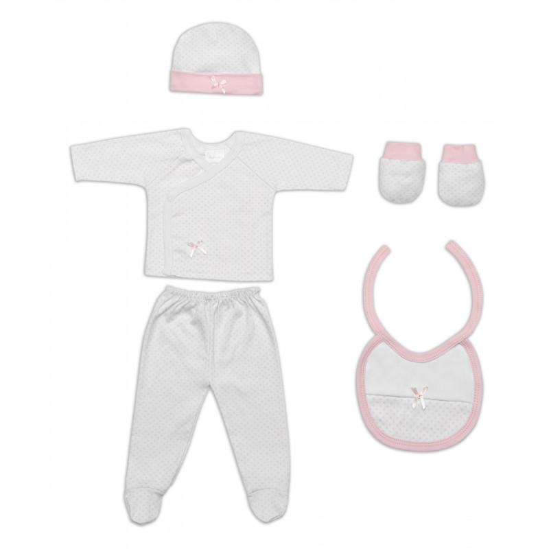 Σετ δώρου για νεογέννητο 5 τεμαχίων ροζ  103002