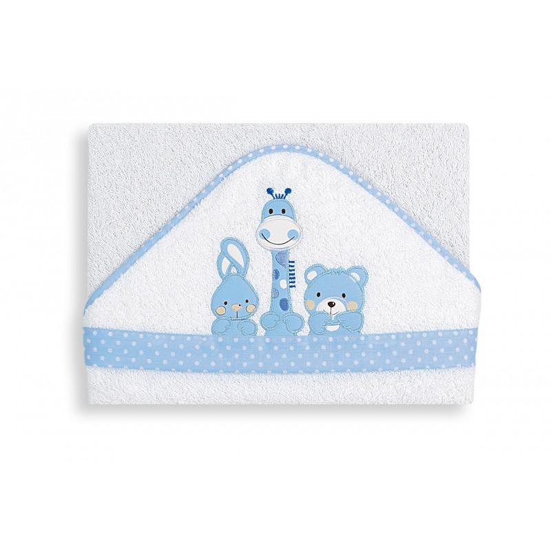 Βρεφική μπουρνουζοπετσέτα, Basic Friends,  με μπλε μπορντούρα  103142