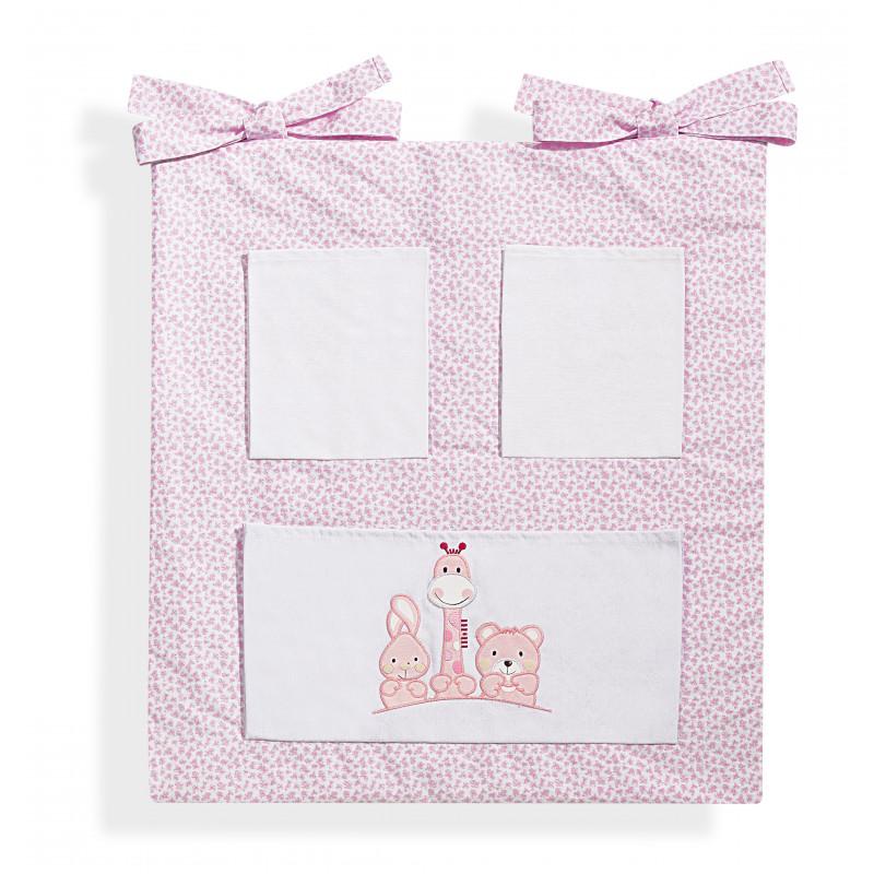 Βαμβακερή θήκη κούνιας, Basic friends, με ζωάκια, σε ροζ χρώμα  103190