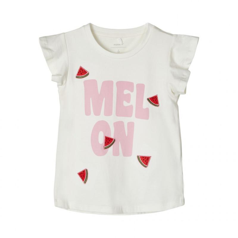 Κοντομάνικη μπλούζα από οργανικό βαμβάκι, λευκή για κορίτσια  107107