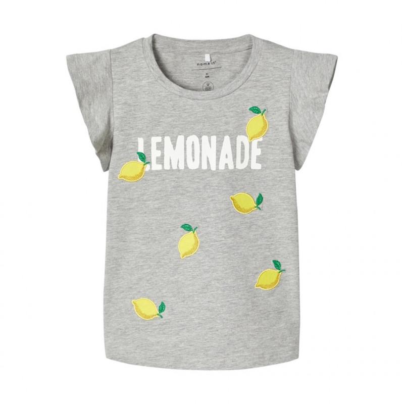 Κοντομάνικο μπλουζάκι από οργανικό βαμβάκι σε γκρι χρώμα για κορίτσια  107110