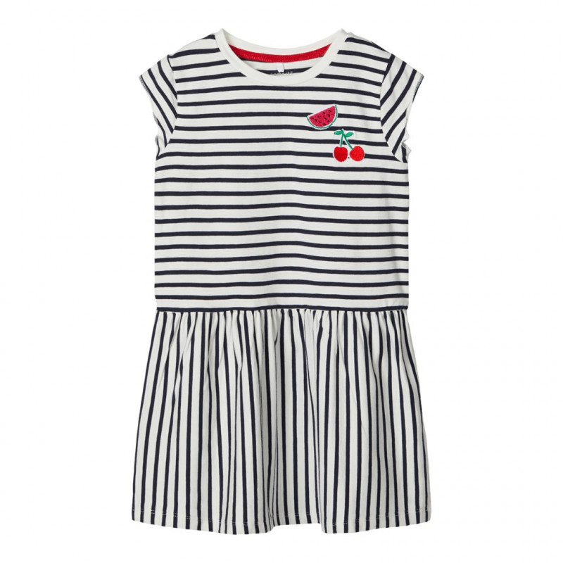Ριγέ κοντομάνικο φόρεμα για κορίτσια  107113