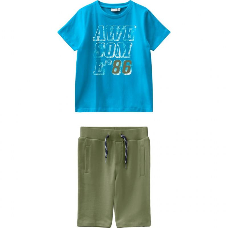 Σετ δύο τεμαχίων από βαμβάκι σε μπλε και πράσινο για αγόρια  107228