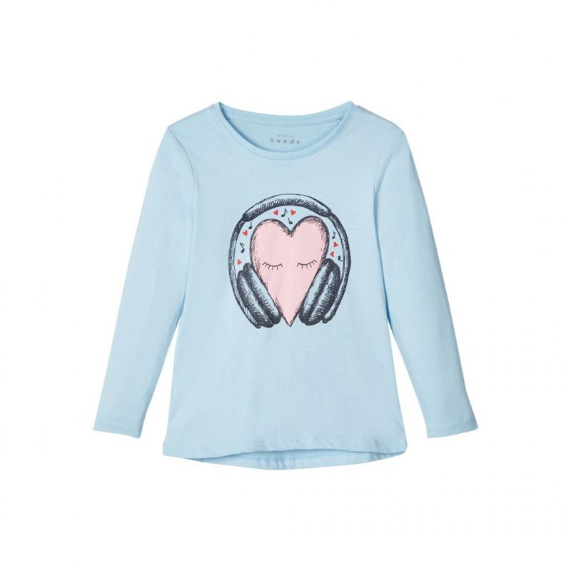 Βαμβακερή μπλούζα μακρυμάνικη, σε γαλάζιο χρώμα για κορίτσια  107409