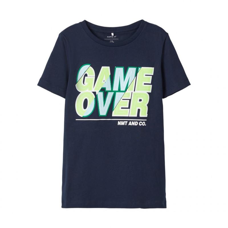 Κοντομάνικο μπλουζάκι από οργανικό βαμβάκι ,σε σκούρο μπλε για αγόρια  107506