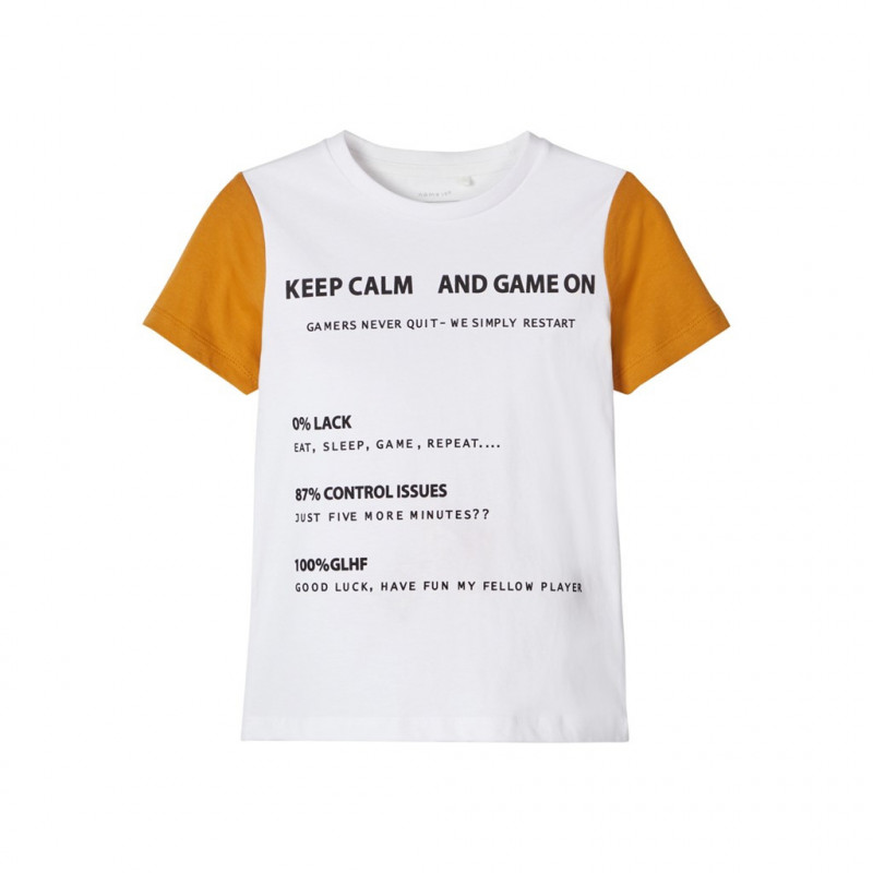 Μπλουζάκι από οργανικό βαμβάκι, λευκό για αγόρια  107515