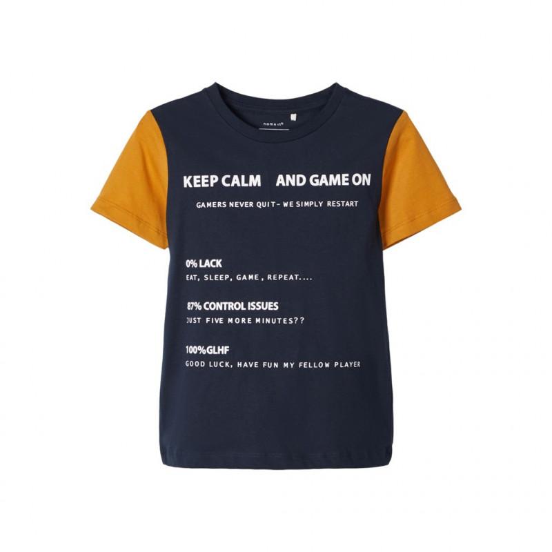 Μπλούζα από οργανικό βαμβάκι, σε σκούρο μπλε χρώμα, για αγόρι  107518