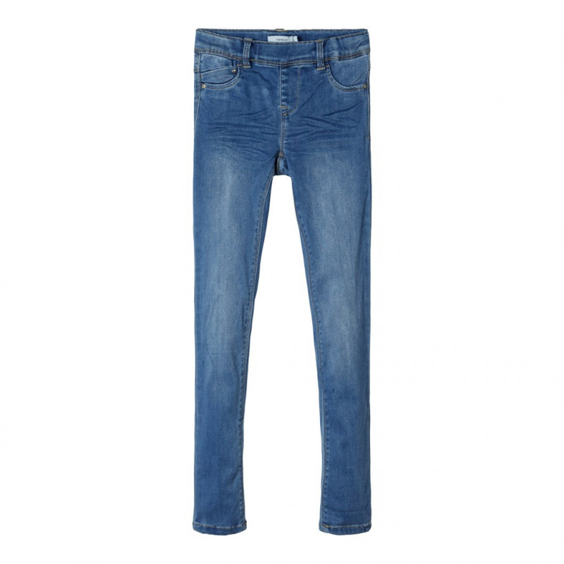 Μαλακό τζιν παντελόνι με φθαρμένο εφέ, μπλε για κορίτσια  107527