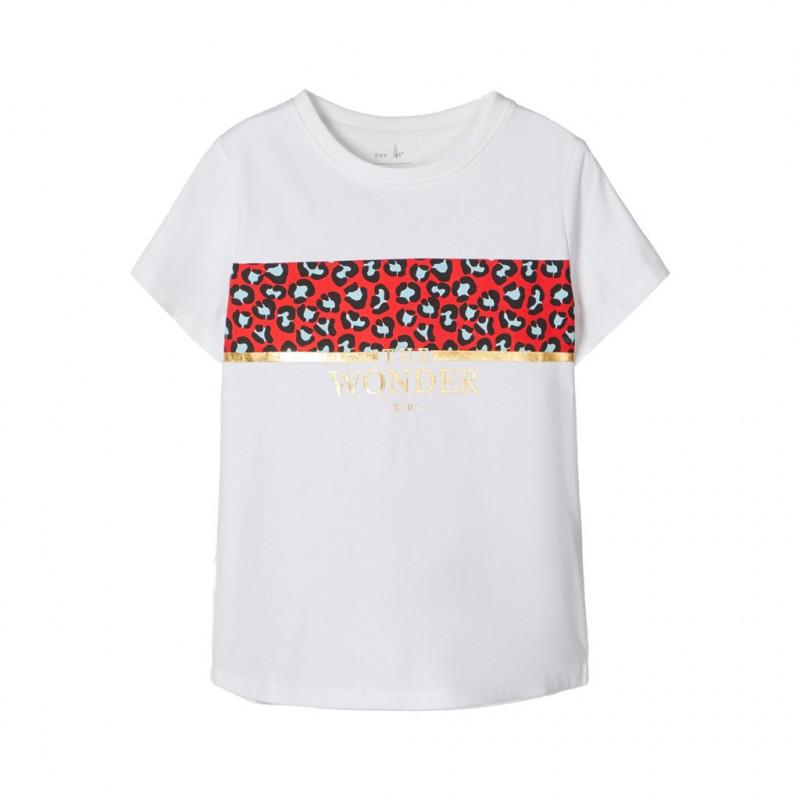 Μπλούζα με λεοπάρ τύπωμα, λευκή για κορίτσια  107536