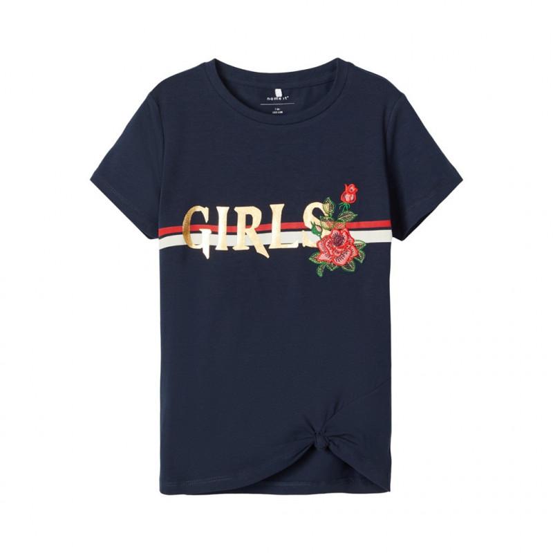 Βαμβακερή μπλούζα με γράμματα και κεντήματα, σε σκούρο μπλε για κορίτσια  107542