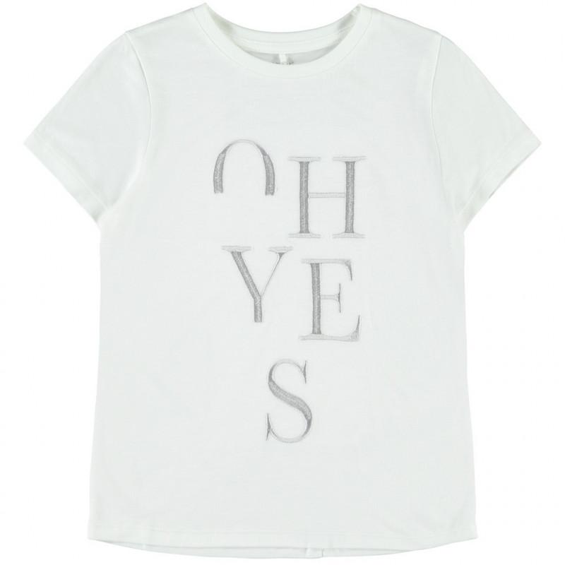 Μπλούζα με κεντήματα, λευκή για κορίτσια  107545