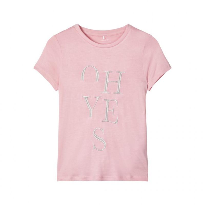 Μπλούζα με κεντήματα, ροζ για κορίτσια  107546