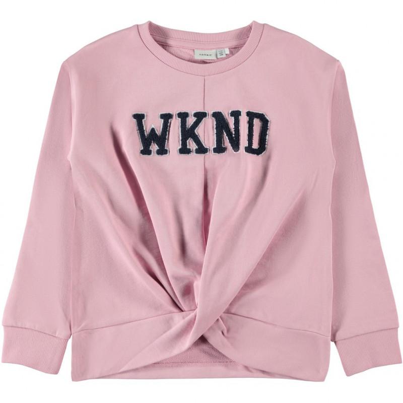 Φούτερ με στρίφωμα, ροζ για κορίτσια  107551