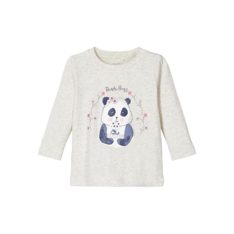 Βαμβακερή μπλούζα με τύπωμα Panda, γκρι για κορίτσια  107567