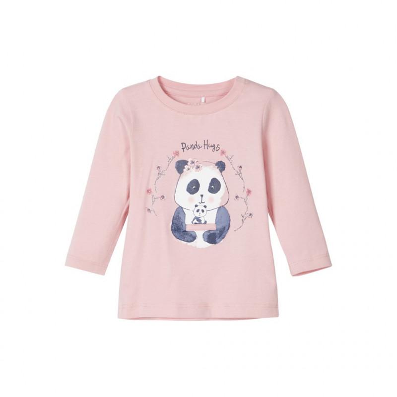 Βαμβακερή μπλούζα με panda σε ροζ χρώμα για κορίτσια  107570