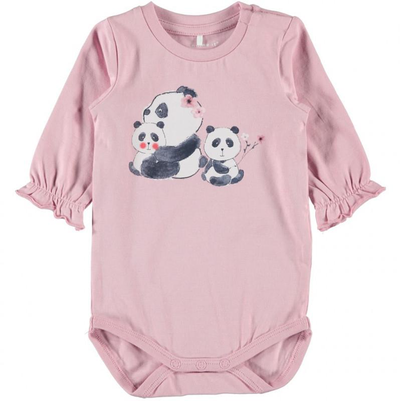 Φόρμα με μακρύ μανίκι από οργανικό βαμβάκι, ροζ για κοριτσάκι  107573