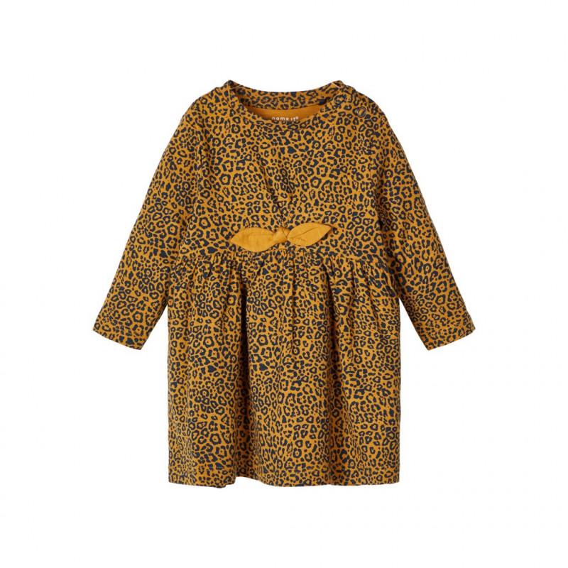 Βαμβακερό φόρεμα με animal τύπωμα, πορτοκαλί για κορίτσια  107575