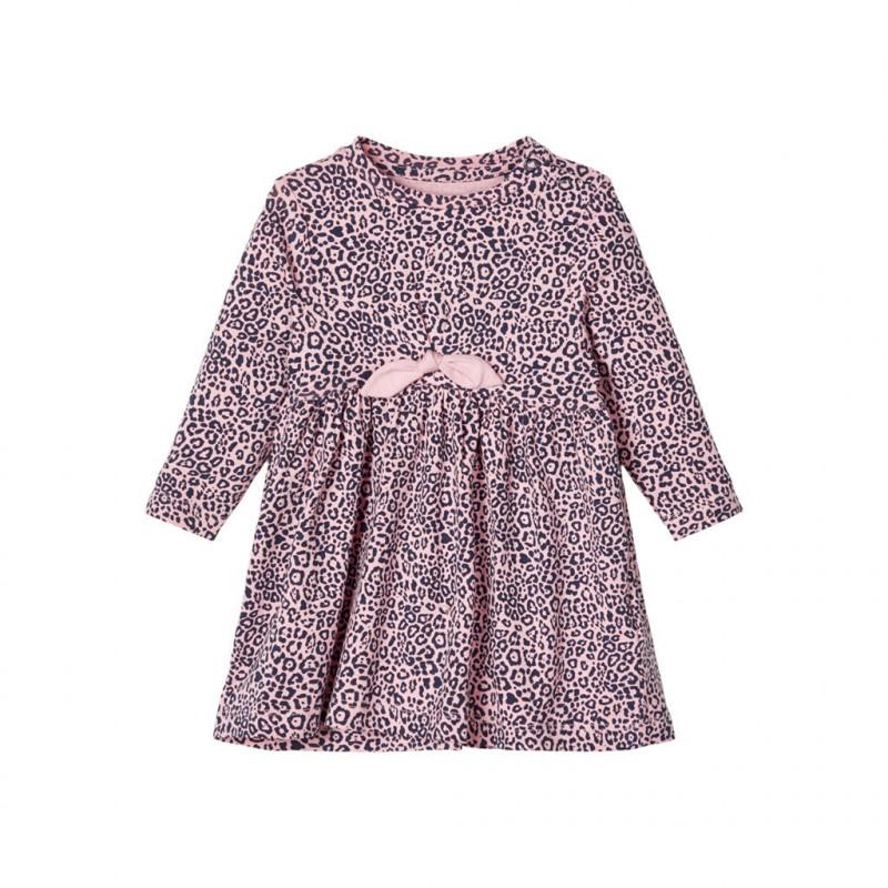Βαμβακερό φόρεμα με animal τύπωμα, ροζ για κορίτσια  107578