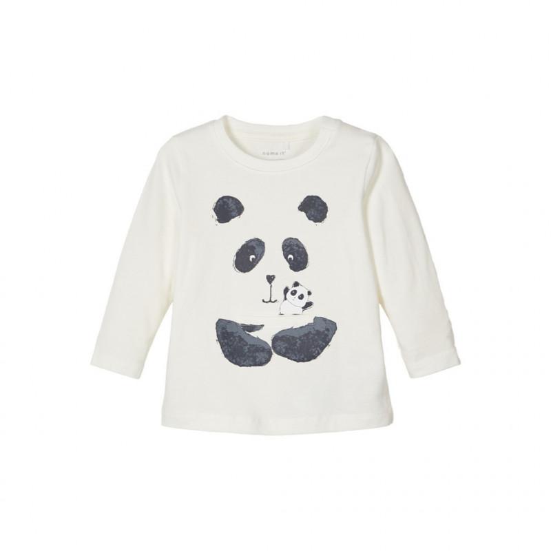 Βαμβακερή μπλούζα με panda, λευκή για ένα αγόρι  107612