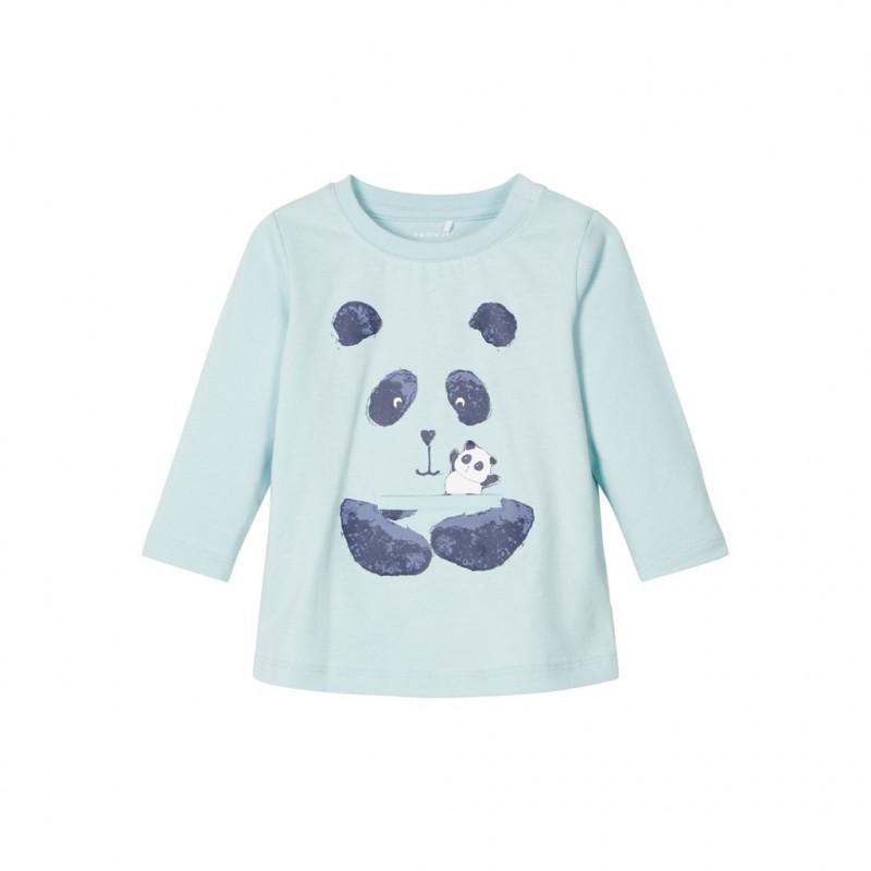 Βαμβακερή μπλούζα με τύπωμα Panda, μπλε για αγόρια  107615