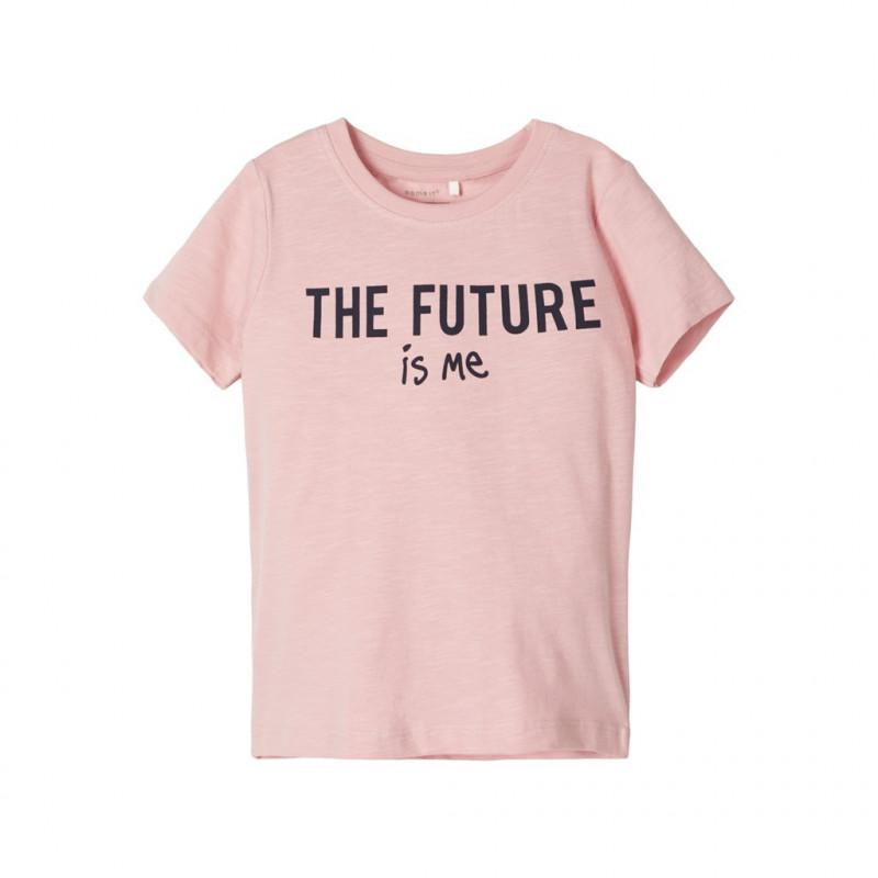 Μπλουζάκι από οργανικό βαμβάκι με τύπωμα, ροζ για κορίτσια  107621