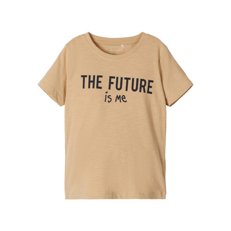 Μπλουζάκι από οργανικό βαμβάκι με τύπωμα, μπεζ  107624