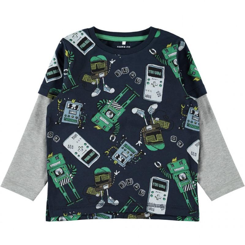 Βαμβακερή μπλούζα με αντίθεση, σε σκούρο μπλε για αγόρια  107627