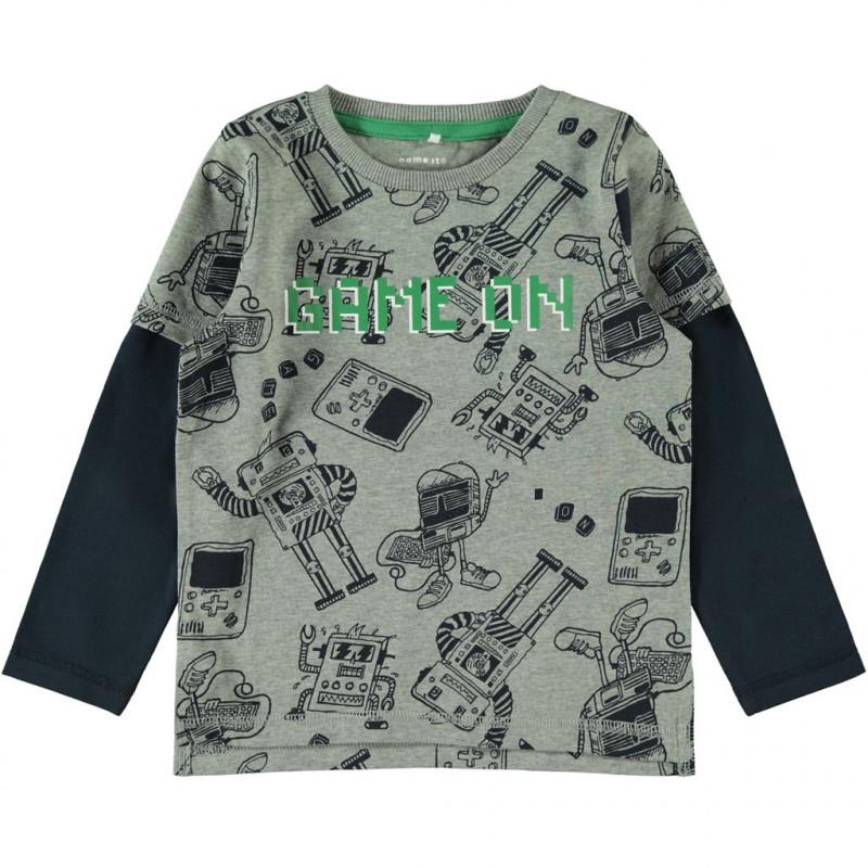 Βαμβακερή μπλούζα, γκρι για αγόρια  107628