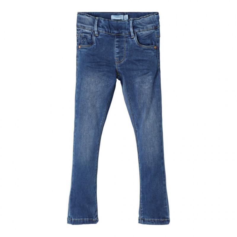 Μαλακό ελαστικό τζιν παντελόνι, σε μπλε χρώμα για κορίτσια  107651