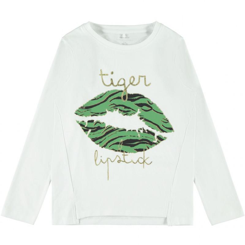 Βαμβακερή μπλούζα με τύπωμα και χρυσά γράμματα, λευκή για κορίτσια  107655