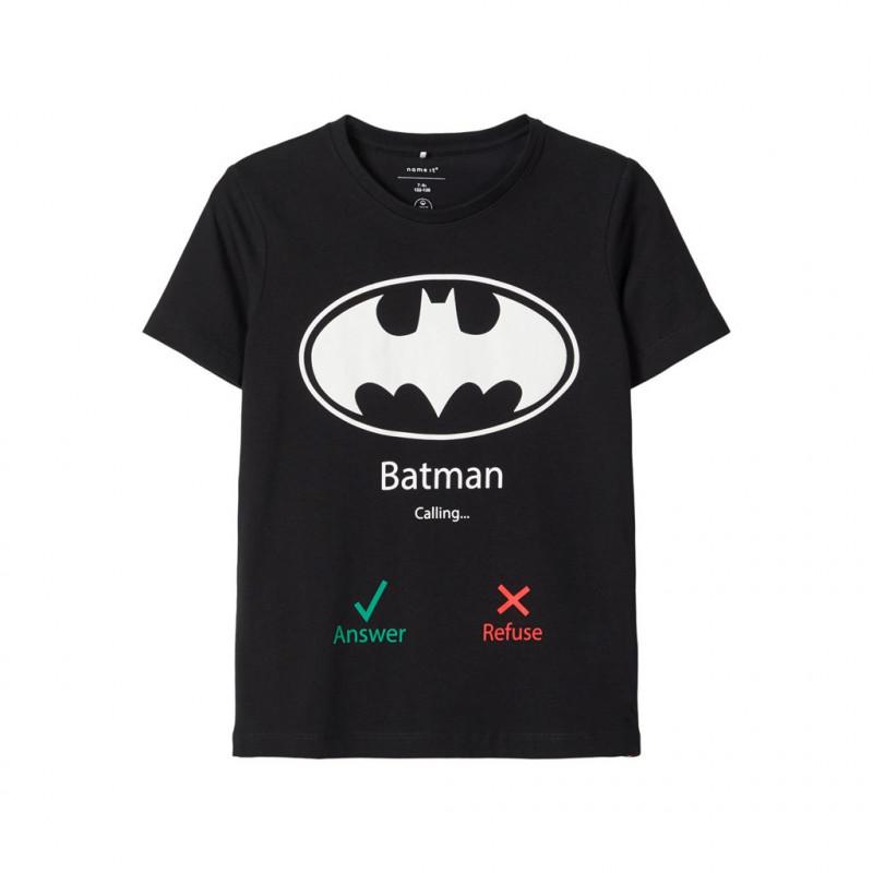 Βαμβακερό μπλουζάκι Batman, μαύρο για αγόρια  107674