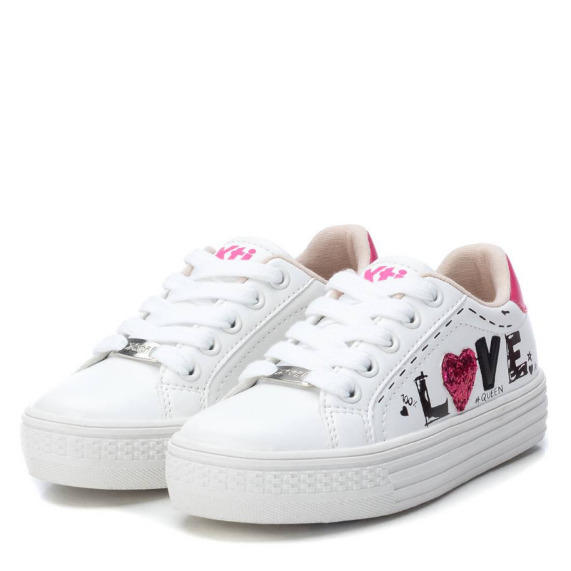 Sneakers σε λευκό χρώμα, με επιγραφή, για κορίτσι  107909