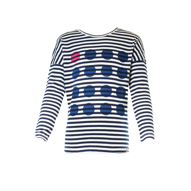 Ριγέ μακρυμάνικη βαμβακερή μπλούζα, για κορίτσι  107952