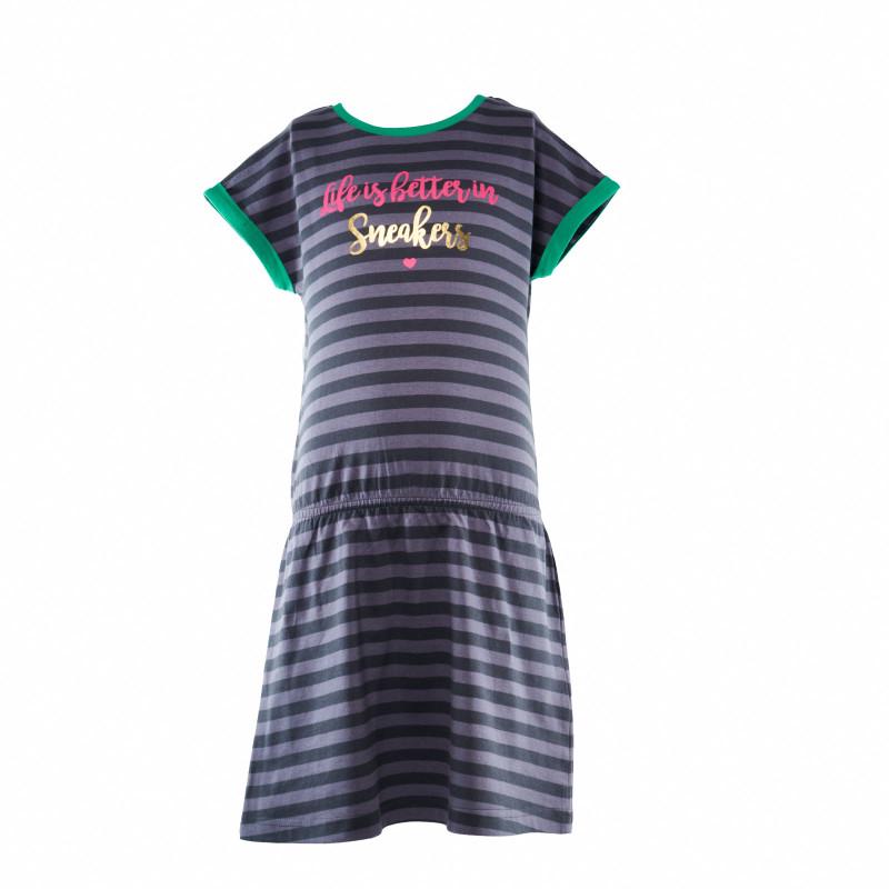 Βαμβακερό ριγέ κοντομάνικο φόρεμα για κορίτσι  107988