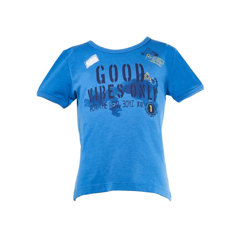 Μπλουζάκι βαμβακερό μπλε για ένα αγόρι  108052