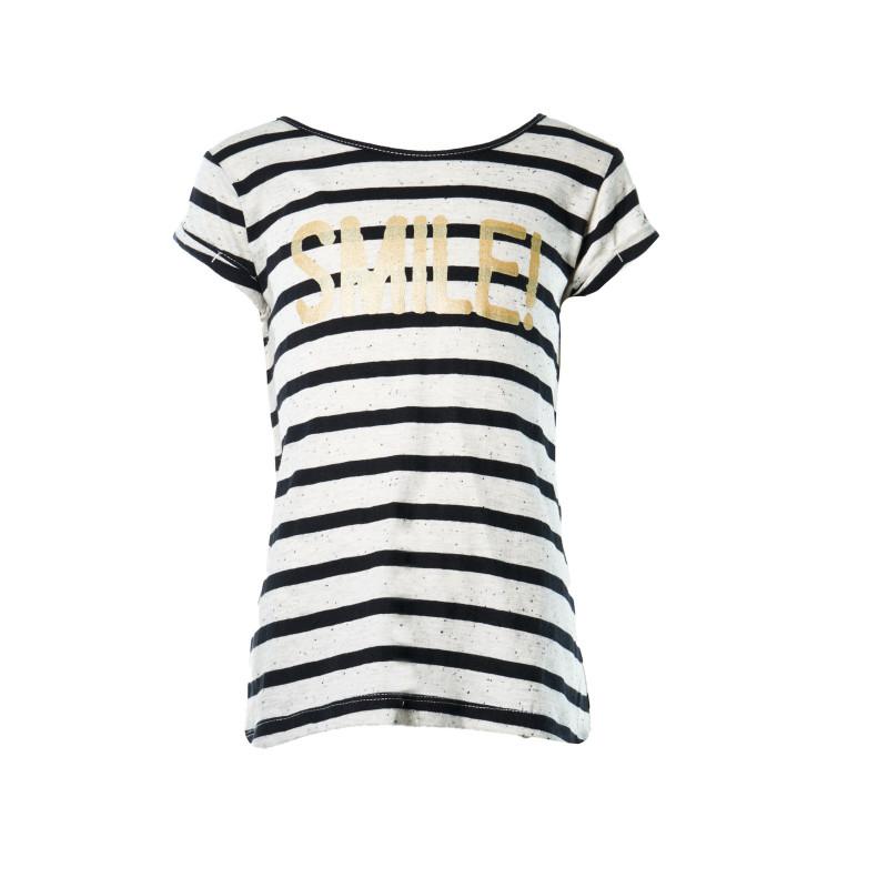 Ριγέ βαμβακερή μπλούζα για ένα κορίτσι  108058