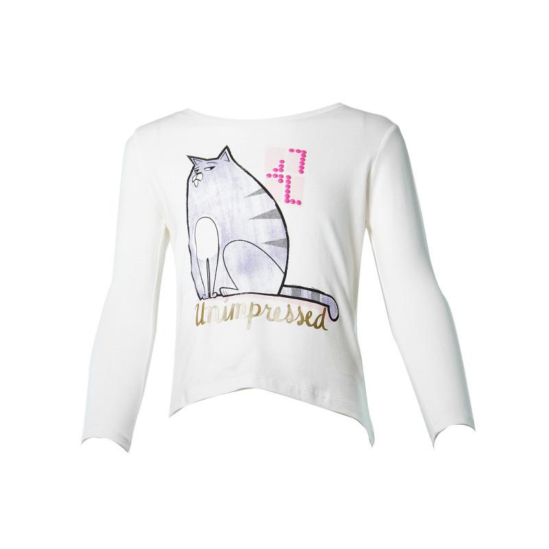 Λευκή βαμβακερή μπλούζα με τύπωμα για κορίτσι  108061