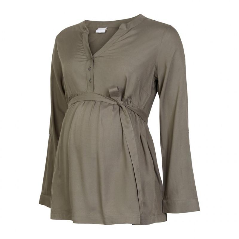 Μακρυμάνικο φόρεμα για εγκύους και θηλάζουσες γυναίκες, πράσινο  110597