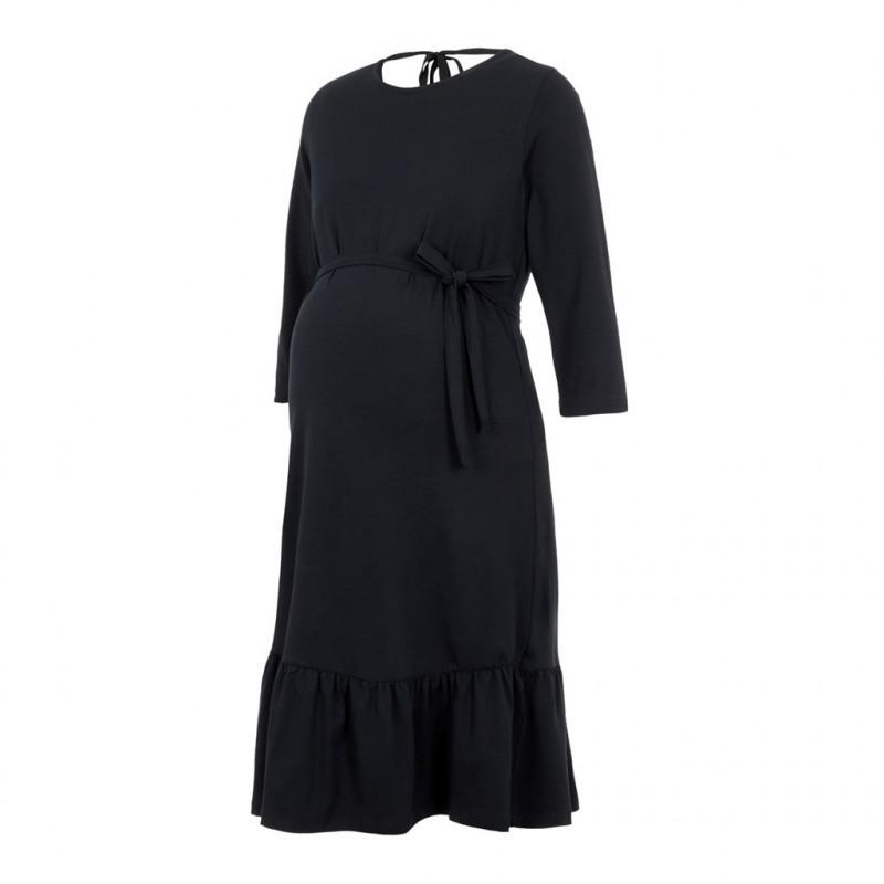 Μαλακό βαμβακερό midi φόρεμα μητρότητας, μαύρο  110598