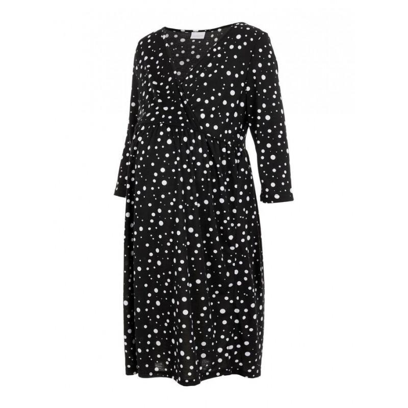 Φόρεμα μητρότητας, μαύρο με άσπρες κουκκίδες  110611