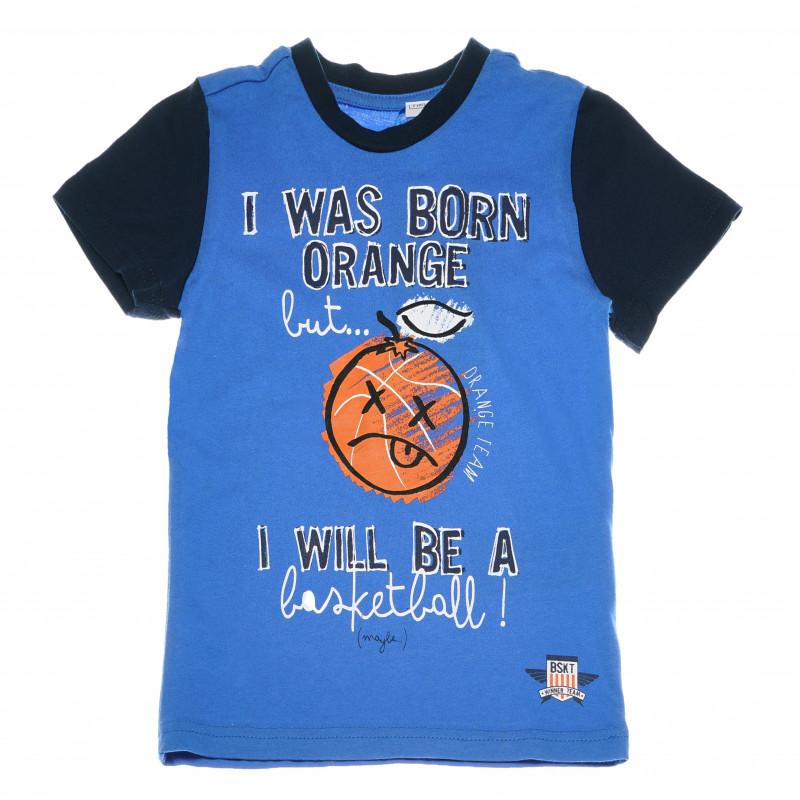 Μπλουζάκι για αγόρια, βαμβακερό με τύπωμα, μπλε  111062
