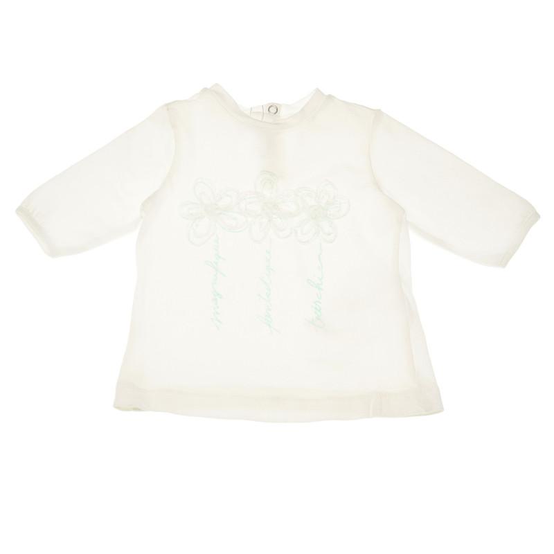 Βαμβακερή μπλούζα με μανίκι 3/4, Λευκή, για κορίτσια  111118