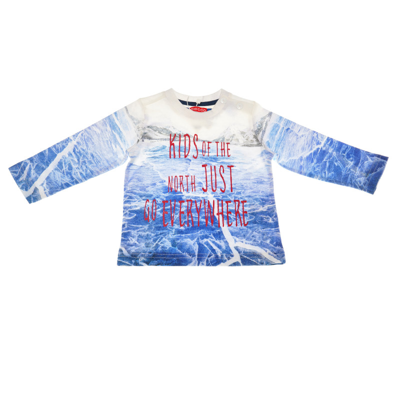 Μακρυμάνικο πουκάμισο Chicco για αγόρι με διασκεδαστική στάμπα, μπλε και άσπρο  111259