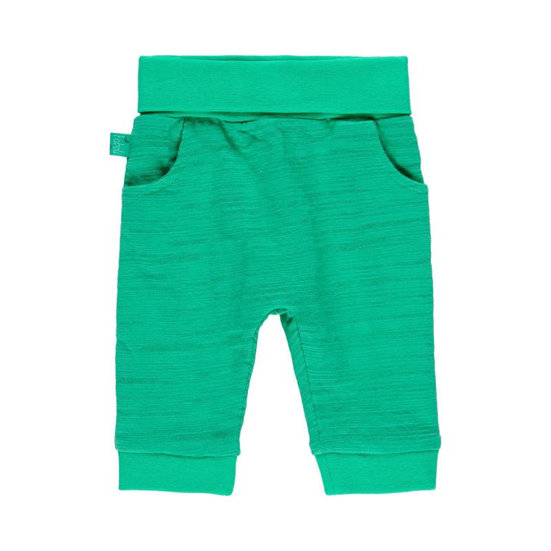 Βαμβακερά παντελόνια μωρού Boboli, πράσινο  112740